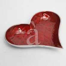 RED ROSE Heart Shaped Aluminum Dish/Plate