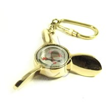 Brass Propeller Compass Keychain Key ring