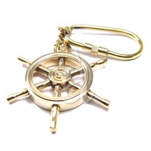 Nautical navy ships brass wheel key chain ring