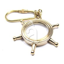 Nautical Brass wheel Keychain