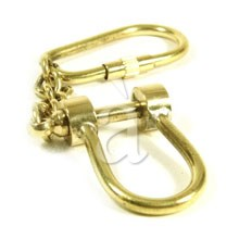 Solid Brass Nautical Shackle Keychain