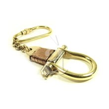 Solid Brass Shackle Keychain with Copper Coiling