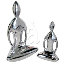 2-Pcs Praying Buddha, recycled aluminium figurine-Bright finish