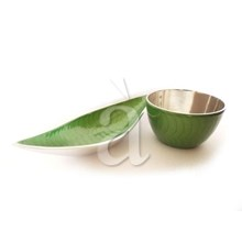 Recycled Aluminium Green Serving Bowl and Fruit Bowl Set