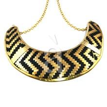 Zig Zag Brass Necklace with Gold Plated Chain